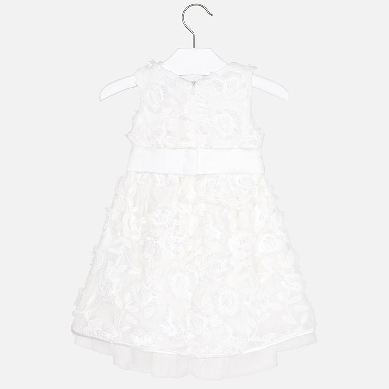 Mayoral Girl Embossed Tulle Flowers Dress