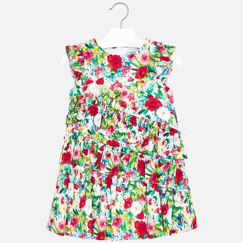 Mayoral Girl Ruffled Floral Print Dress
