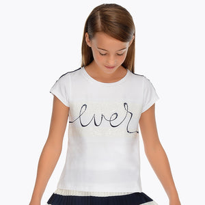 Mayoral Girl Short Sleeved 'ever' T-Shirt