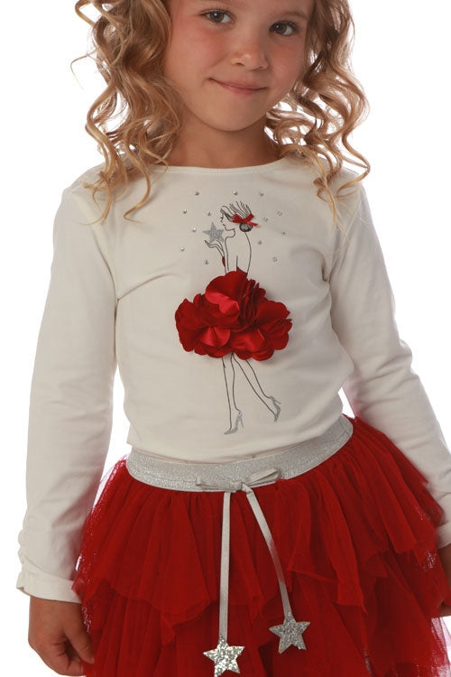 Biscotti Kate Mack Holiday Magic Red Rosette Tee and Skirt