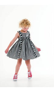 Biscotti Dress Gingham Black and White Colour