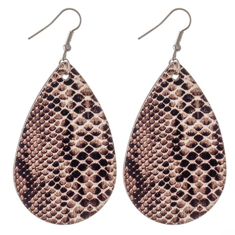 Faux Leather Snakeskin Teardrop Earrings