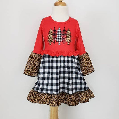 Christmas Tree Plaid Girls Dress