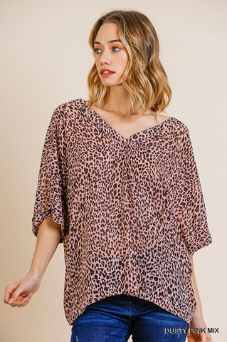 Animal Print V-Neck Top