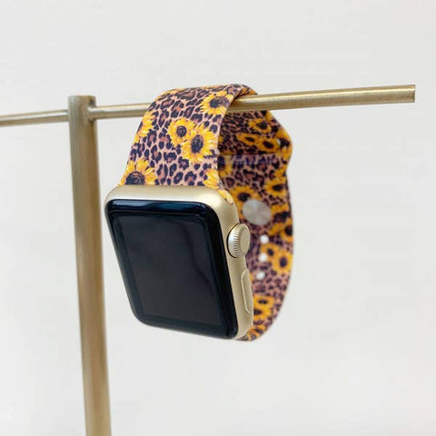 Sunflower Leopard Silicone Smart Watch Band
