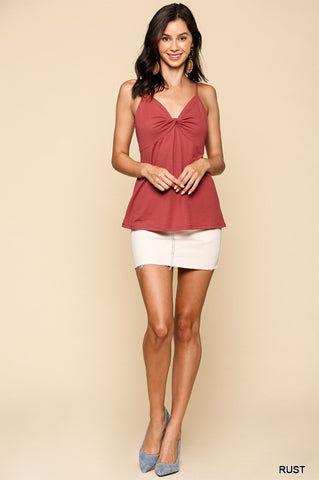 Front Twist Detail Adjustable Strap Tank Top