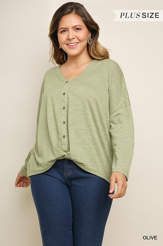 Long Sleeve V-Neck Button Up Curvy
