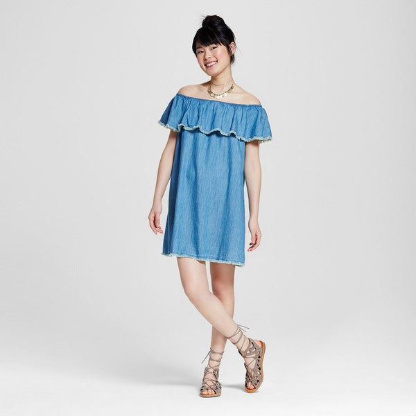 Mossimo Women's Off The Shoulder Denim Dress - TheCheapBoutique, Dresses - Womensclothing, Mossimo - TheCheapBoutique, Mossimo Women's Off The Shoulder Denim Dress - Juniors