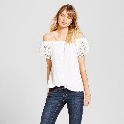 Merona Women's Off The Shoulder Lace Sleeve Top - TheCheapBoutique, Tops - Womensclothing, Merona - TheCheapBoutique, Merona Women's Off The Shoulder Lace Sleeve Top - Juniors