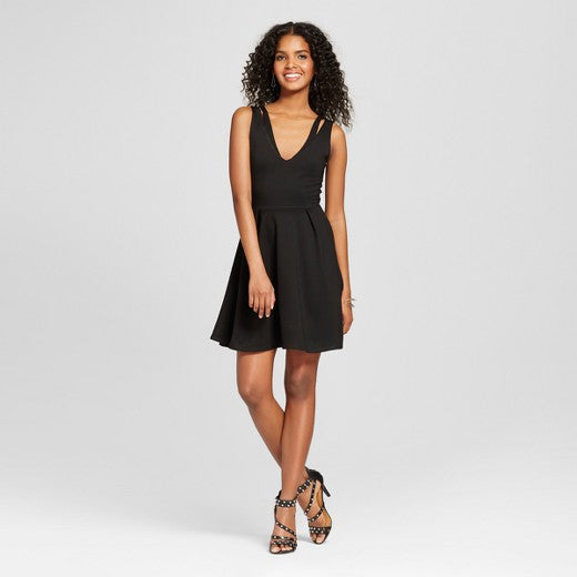 "<img src=""The Vanity Room.jpg"" alt=""Women's Clothing"" title=""Ponte Fit and Flare dress with Cut Outs""  / >"