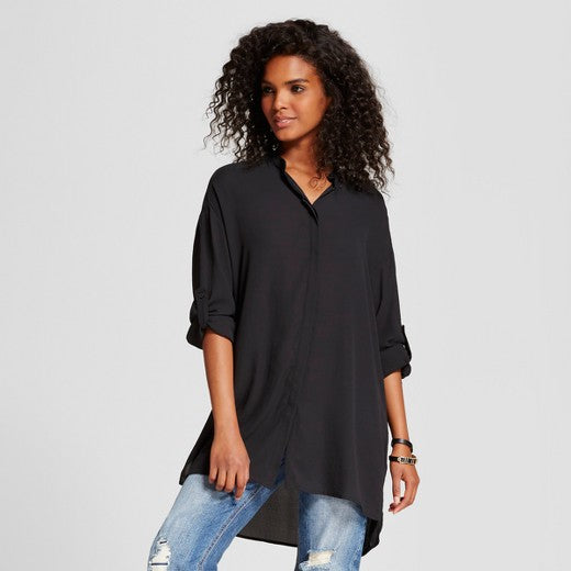 "<img src=""Mossimo.jpg"" alt=""Women's Clothing"" title=""Collarless Long Sleeve Tunic Top""  / >"