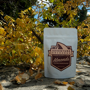 Adventure Orchards - Red Alder-Smoked Sea Salt roasted 4.5 oz gourmet almond health snack.
