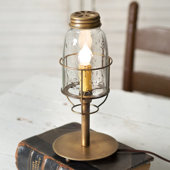 Short Mason Jar Desk Lamp - Antique Brass