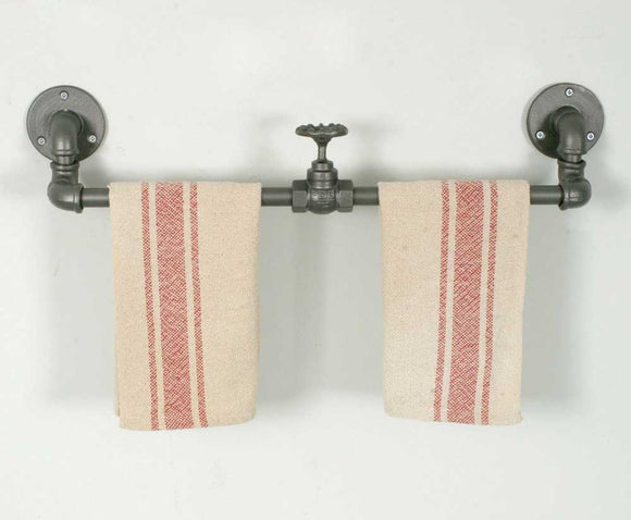 Industrial Towel Rack with Valve Set of Two