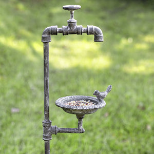 Faucet and Bird Garden Stake Feeder