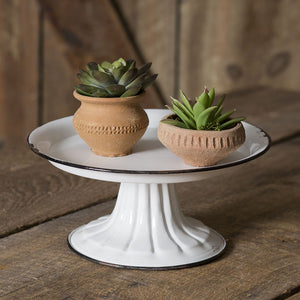Small Round Pedestal Stand with Black Trim