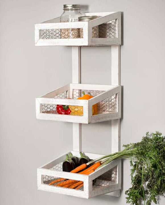 Wood and Chicken Wire White Wall Organizer