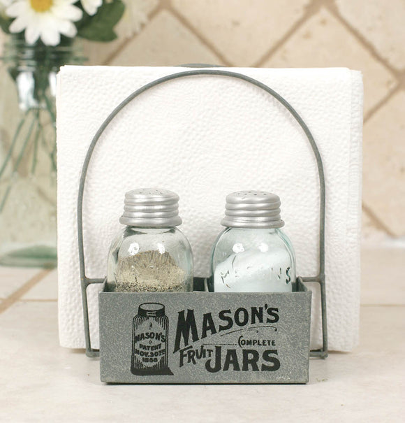 Mason's Jars Box Salt Pepper And Napkin Caddy