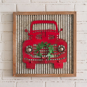 Red Truck Metal Wall Sign