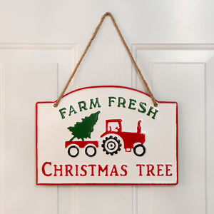 Farm Fresh Christmas Tree Hanging Metal Wall Sign