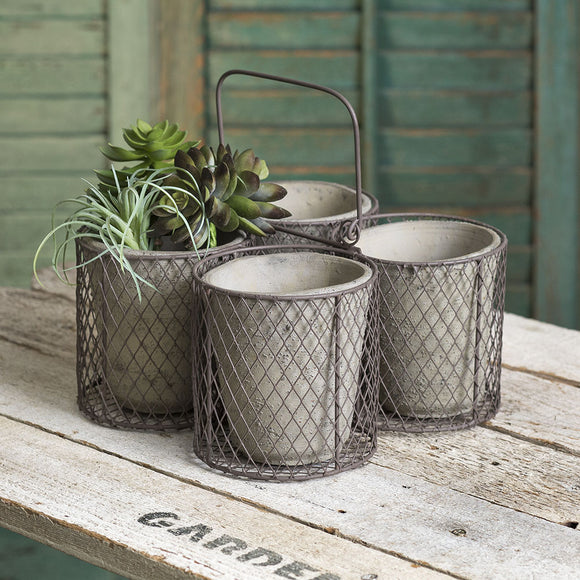 Medium Four Terra Cotta Pot Caddy