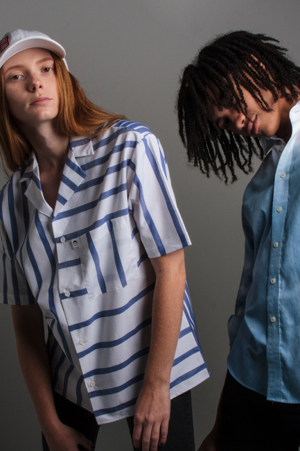 Blue and White Cotton Stripe Dobby Shirt