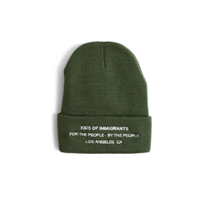 SPREAD LOVE BEANIE - OLIVE GREEN