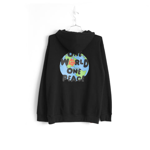 ONE WORLD ONE PEACE HOODIE - BLACK
