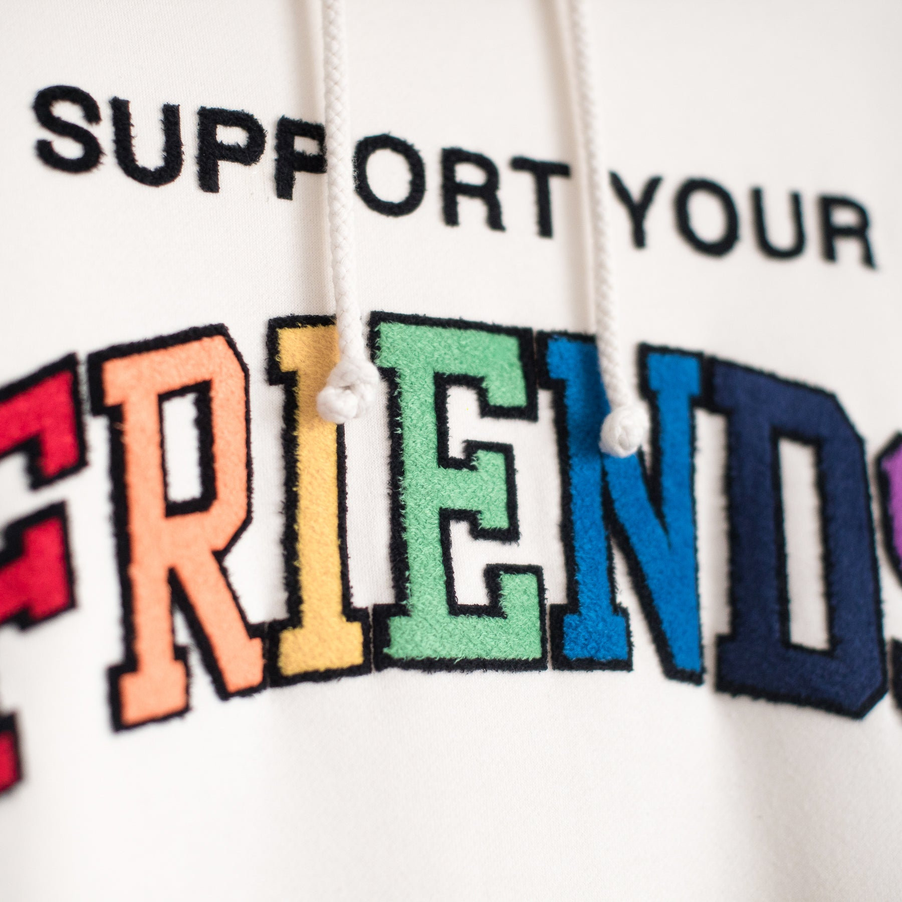 SUPPORT YOUR FRIENDS HOODIE - NATURAL MULTI