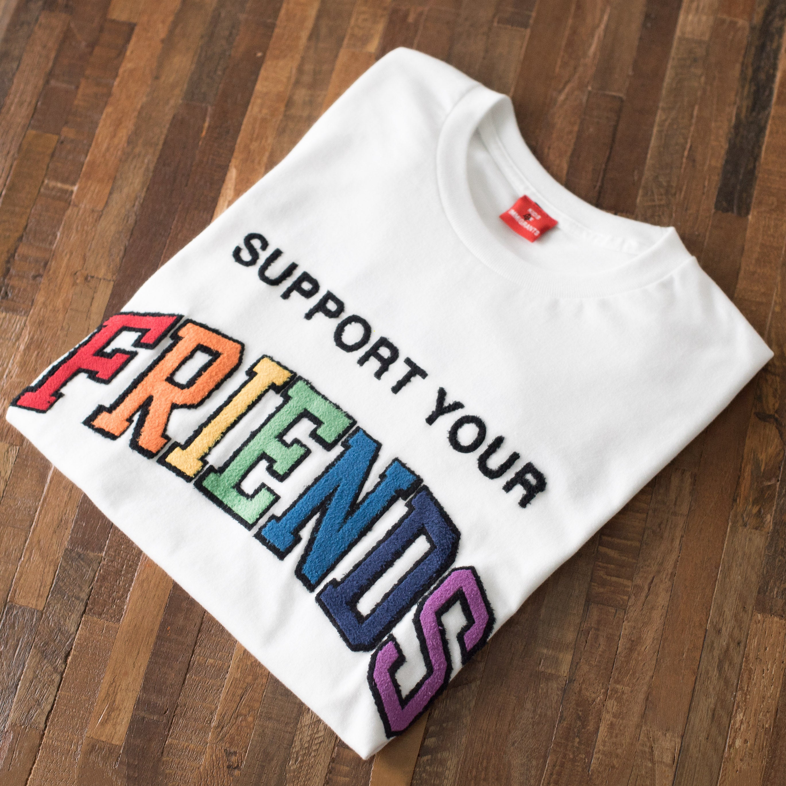 SUPPORT YOUR FRIENDS S/S T-SHIRT - WHITE MULTI