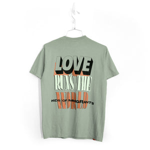 LOVE RUNS THE WORLD T-SHIRT - SAGE