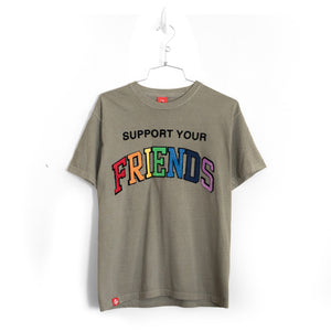 SUPPORT YOUR FRIENDS T-SHIRT - SUN-DRIED OLIVE MULTI