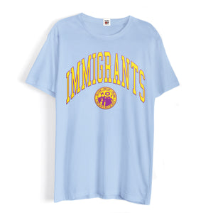 IMMIGRANTS 2.0 T-SHIRT - SUN-DRIED BLUE