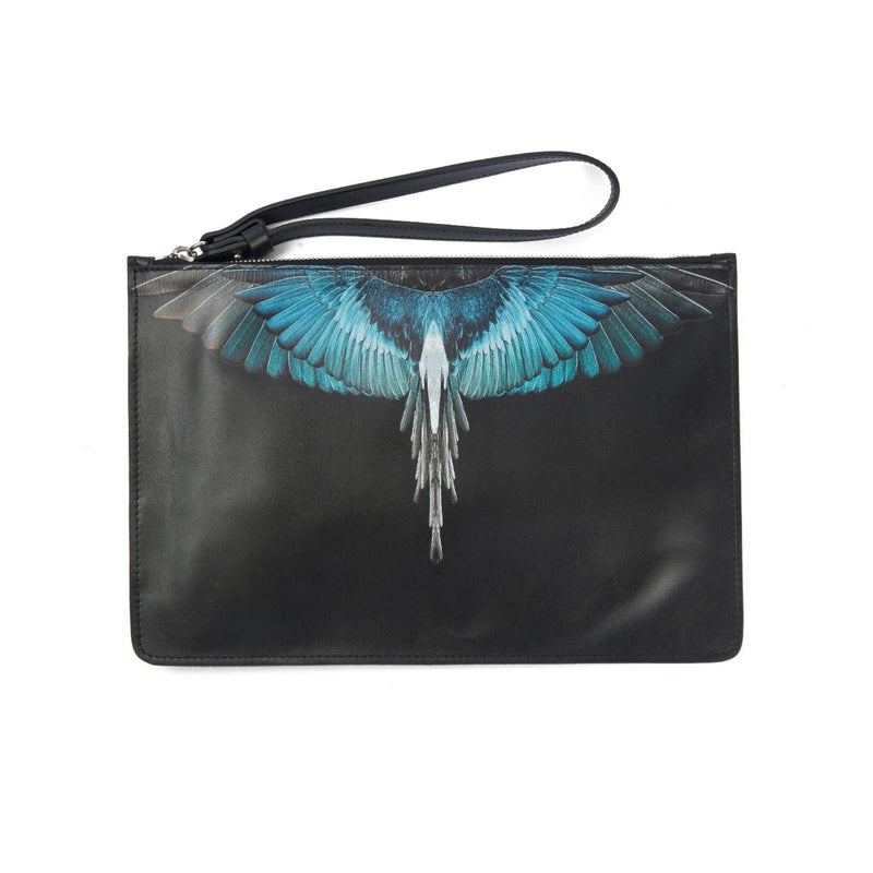 MARCELO BURLON COUNTY OF MILAN Wings Print Leather Pouch
