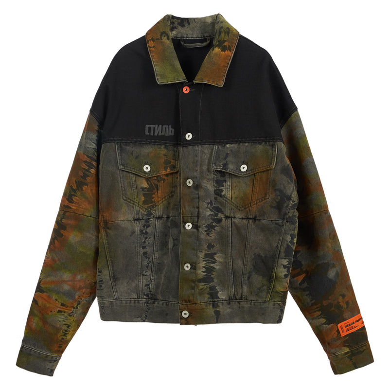 HERON PRESTON Oversized Tye-dye Denim Jacket