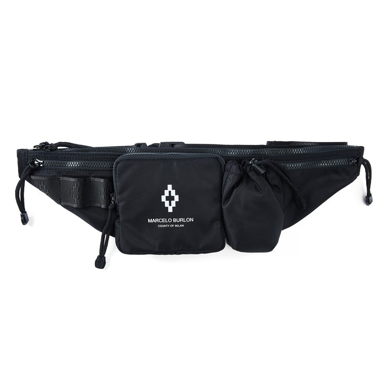 Marcelo Burlon County of Milan Black Fanny Pack
