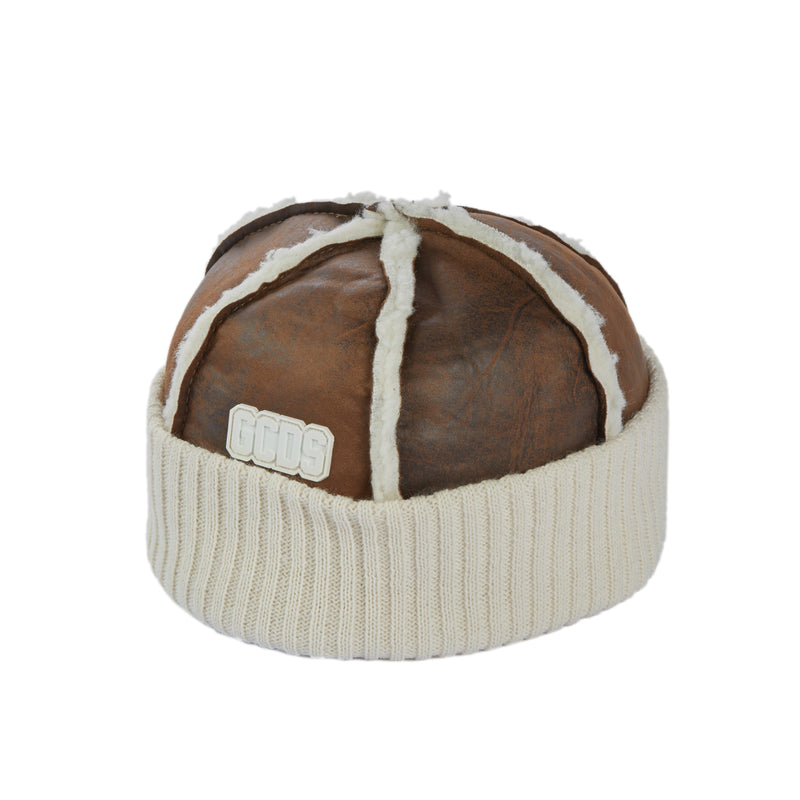 GCDS Mix-Texture Faux-Leather Beanie