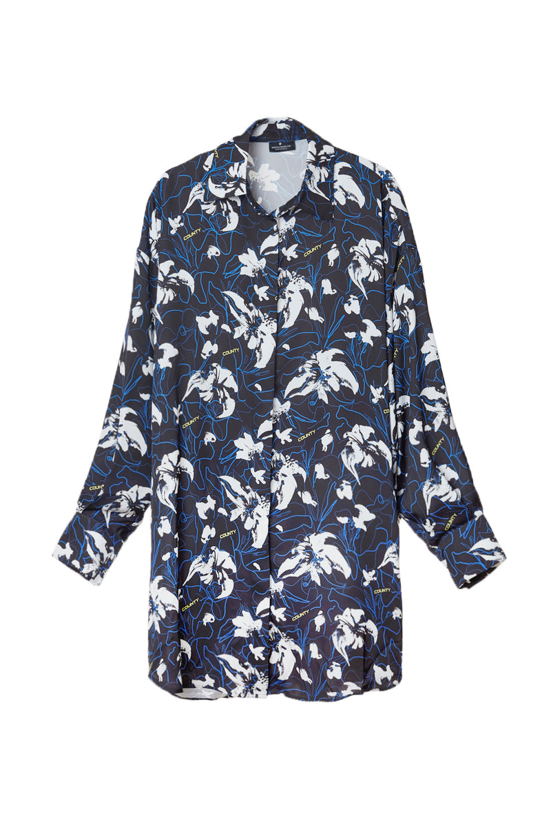 MARCELO BURLON FLOWERS COUNTY OVER SHIRT DRESS