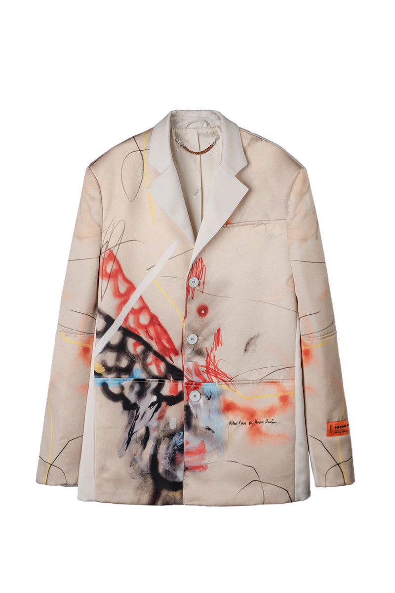 HERON PRESTON TAILORED BLAZER ROBERT NAVA SAND MULTICO OUTERWEAR