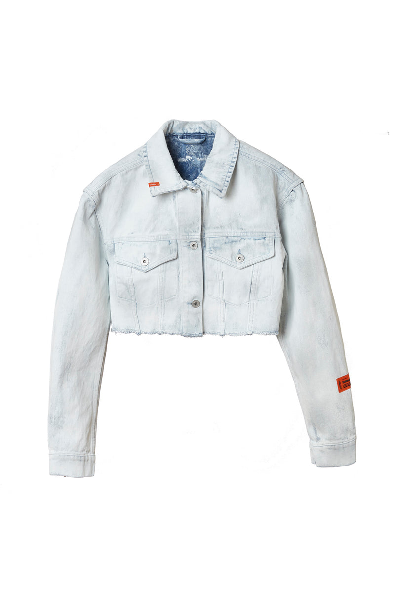 HERON PRESTON CROP DENIM JACKET OUTERWEAR