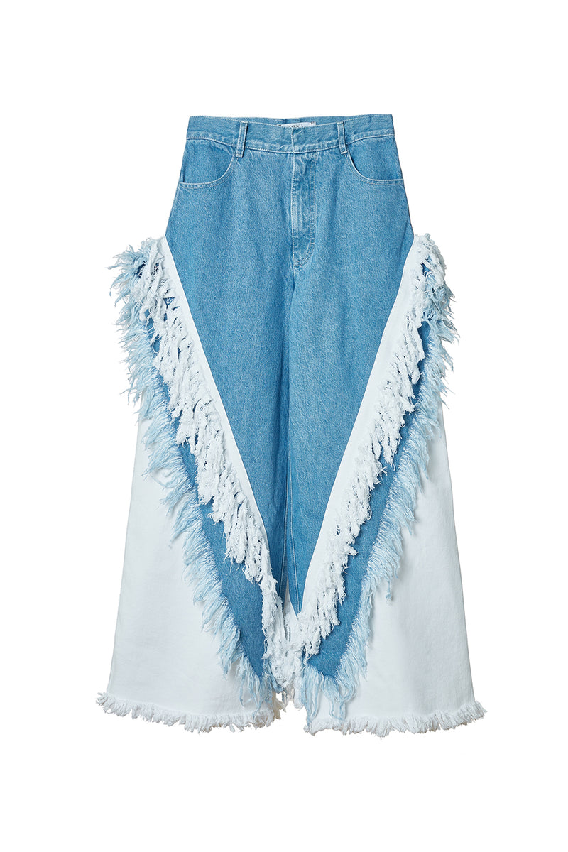 KSENIA SCHNAIDER DENIM FRINGED WIDE JEANS