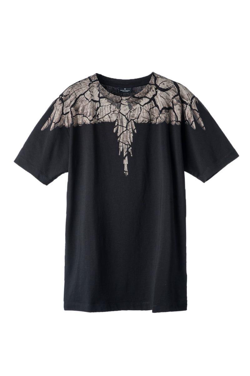 MARCELO BURLON EARTH WINGS T-SHIRT BLACK BROWN T-SHIRT