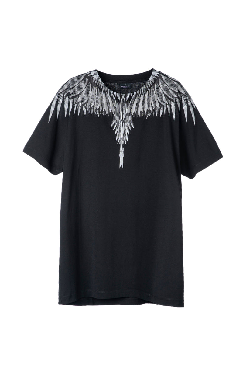 MARCELO BURLON SHARP WINGS BASIC T-SHIRT BLACK WHITE T-SHIRT