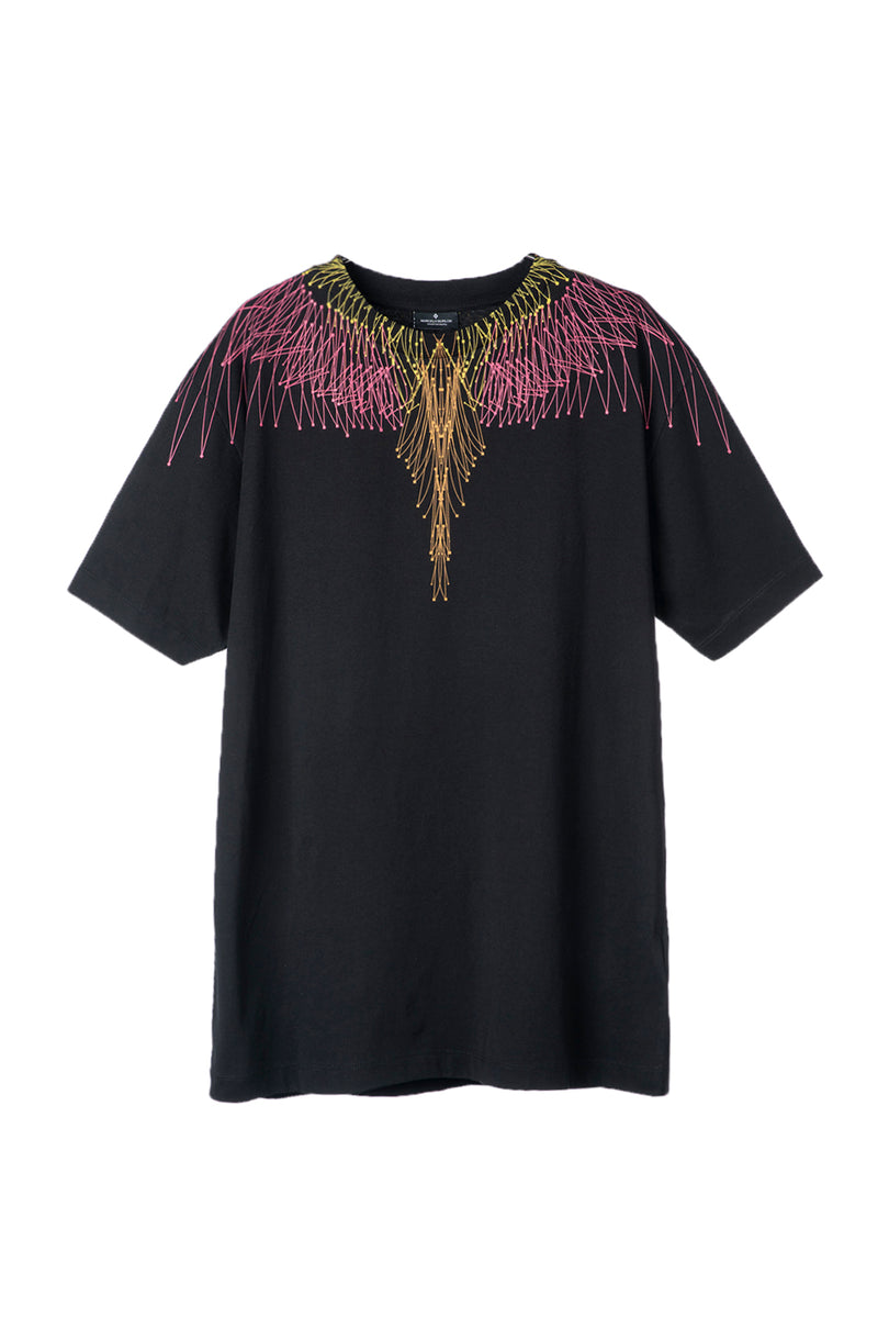 MARCELO BURLON BEZIER WINGS BASIC T-SHIRT BLACK FUCHSIA T-SHIRT