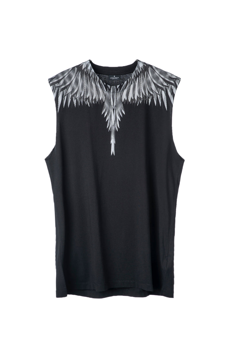 MARCELO BURLON SHARP WINGS BASIC TANK BLACK WHITE TANK