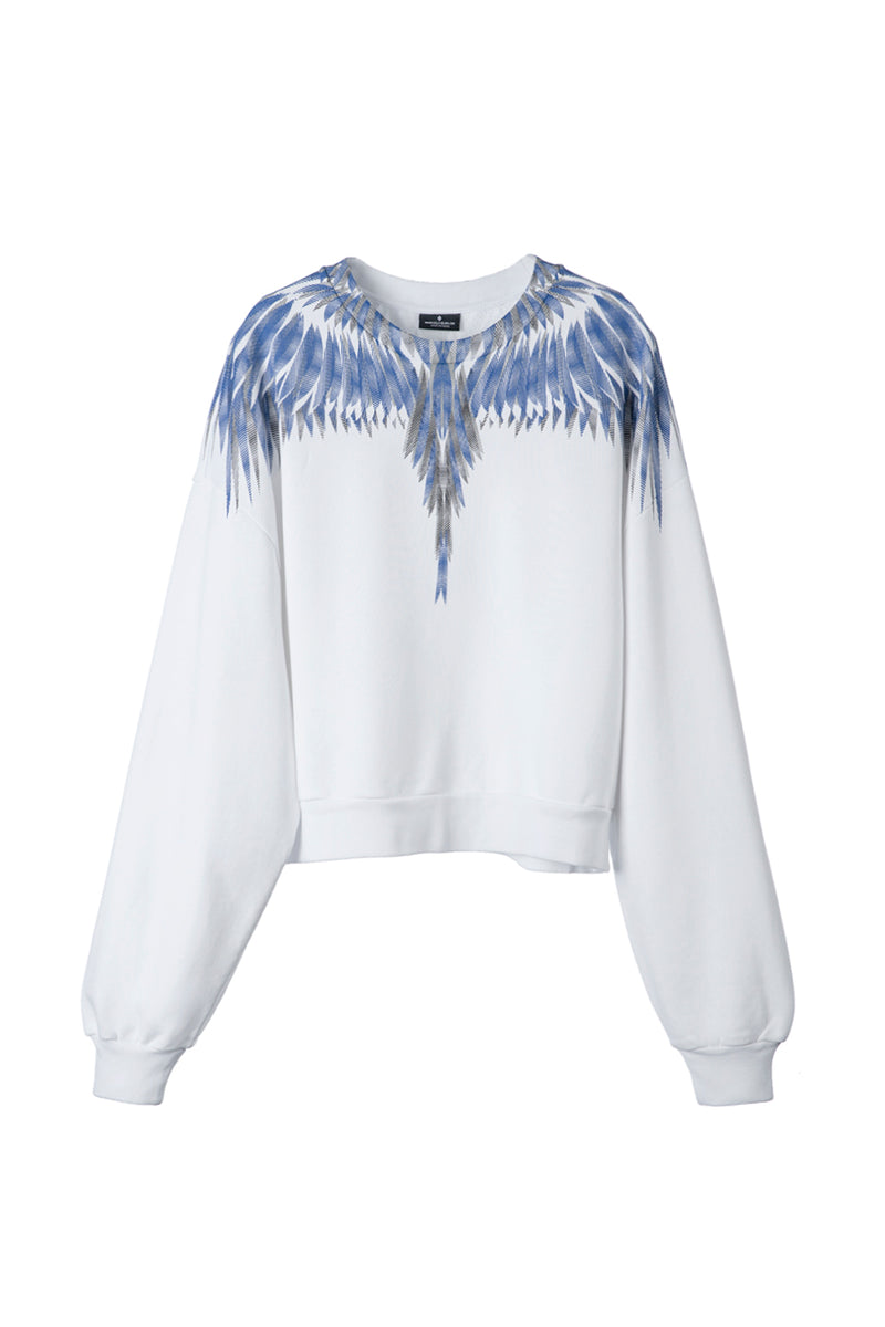 MARCELO BURLON SHARP WINGS REGULAR CREWNECK WHITE BLUE SWEAT SHIRT