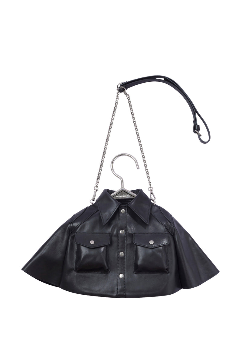 MARRKNULL BLACK LEATHER HANGER SHIRT BAG