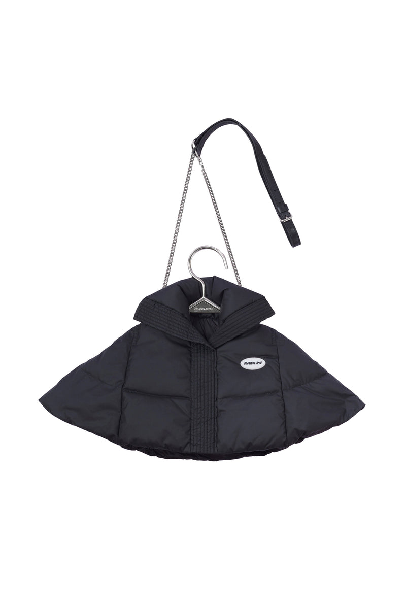 MARRKNULL BLACK PUFFER  HANGER SHIRT BAG