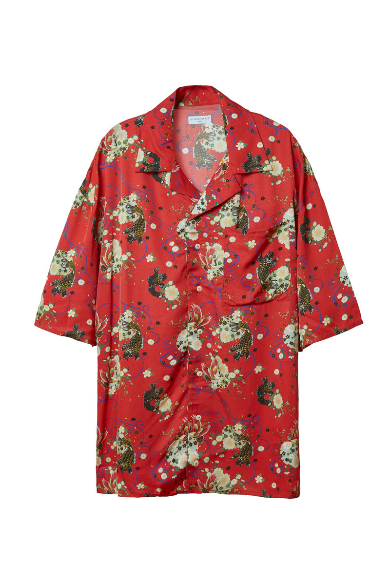 IH NOM UH NIT IN TWILL RED GARDEN PRINT SHIRT