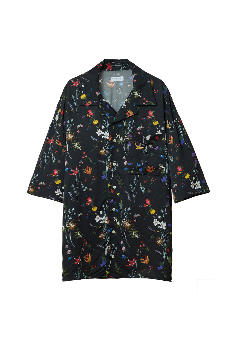 IH NOM UH NIT  IN TWILL BLACK FLOWERY PRINT SHIRT